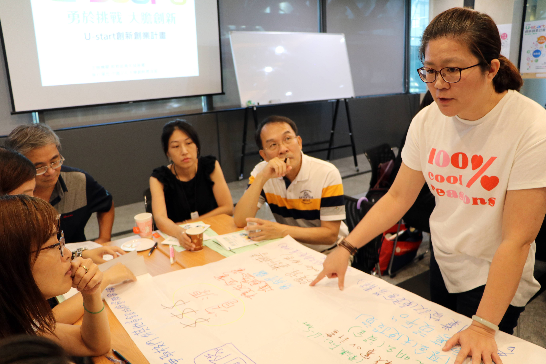 (圖二)郭小萍資深經理帶領同桌的育成經理討論如何幫助學生創業團隊