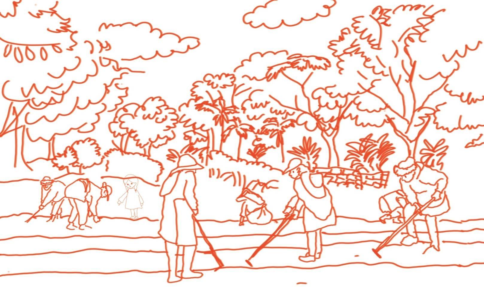 族跡工作室族語教學繪本草圖。照片提供/族跡工作室