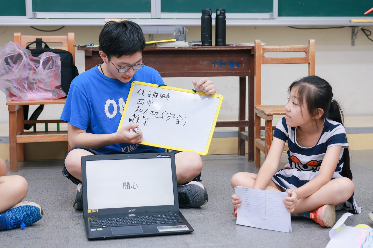 (圖八)心理培力團隊陪伴孩子探索情緒,期間討論熱絡,即使耽誤到下一堂課的時間,小朋友們也不介意,相當熱情。