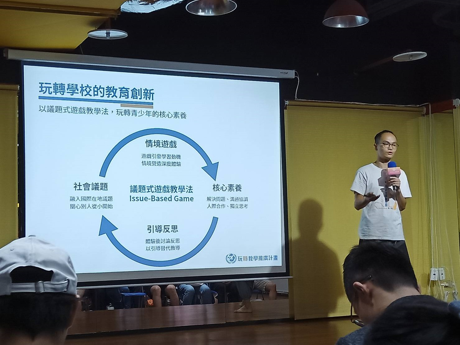 (圖一)玩轉學校共同創辦人林哲宇用議題式遊戲的教學方法,玩轉青少年的核心素養。